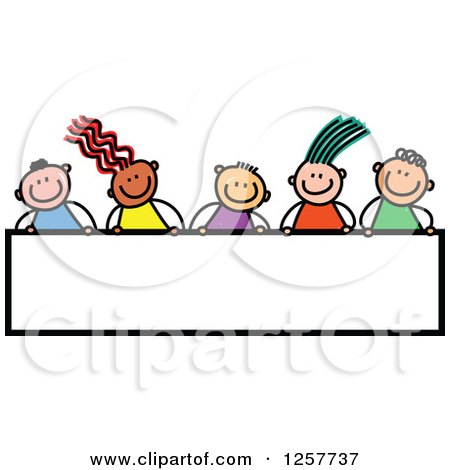 Clipart of a Diverse Group of Stick Children over a Blank Banner Sign - Royalty Free Vector Illustration by Prawny