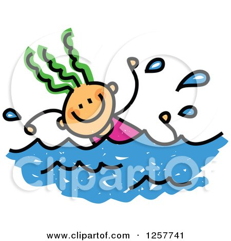 Clipart of a Happy Green Haired White Stick Girl Swimming - Royalty Free Vector Illustration by Prawny