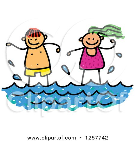 Clipart of Happy White Stick Children Standing in the Surf - Royalty Free Vector Illustration by Prawny