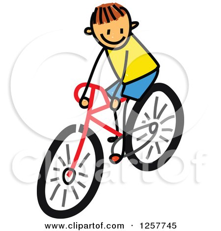 Clipart of a Brunette White Stick Boy Riding a Bike - Royalty Free Vector Illustration by Prawny