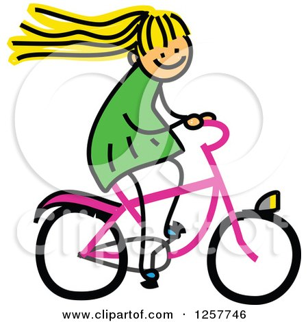 Clipart of a Blond White Stick Girl Riding a Bike - Royalty Free Vector Illustration by Prawny