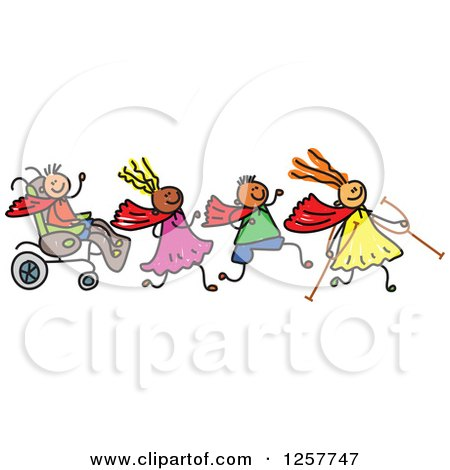 Clipart of a Diverse Group of Disabled Stick Children Running and Playing - Royalty Free Vector Illustration by Prawny