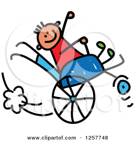 Clipart of a Happy White Disabled Stick Boy Playing in His Wheelchair - Royalty Free Vector Illustration by Prawny