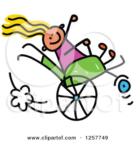Clipart of a Happy White Disabled Stick Girl Playing in Her Wheelchair - Royalty Free Vector Illustration by Prawny