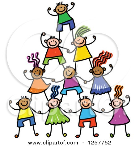 Clipart of a Diverse Group of Cheering Stick Children in a Pyramid - Royalty Free Vector Illustration by Prawny