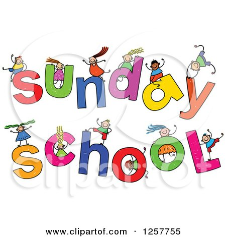 Clipart of a Diverse Group of Stick Children Playing on Sunday School Text - Royalty Free Vector Illustration by Prawny