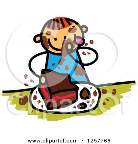Clipart of a Red Haired White Stick Boy Messily Eating Chocolate Cake - Royalty Free Vector Illustration by Prawny