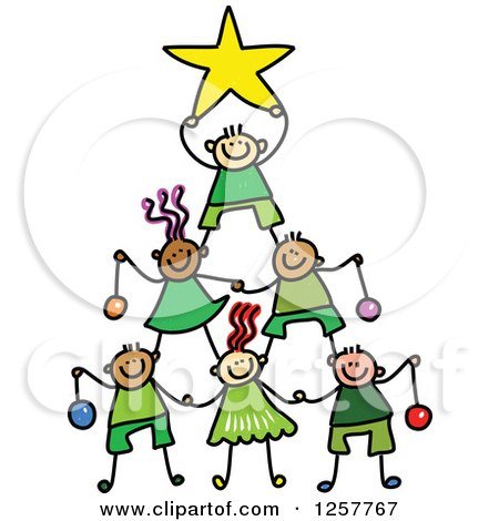 Clipart of a Diverse Group of Stick Children Forming a Christmas Tree Pyramid - Royalty Free Vector Illustration by Prawny