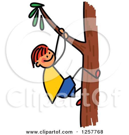 Clipart of a Red Haired White Stick Boy Climbing a Tree - Royalty Free Vector Illustration by Prawny