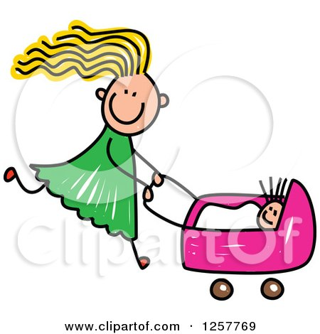 Clipart of a Blond White Stick Girl Pushing a Baby Doll in a Stroller - Royalty Free Vector Illustration by Prawny