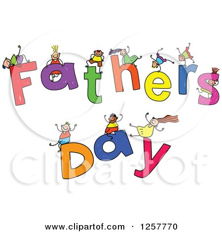 Clipart of a Diverse Group of Stick Children Playing on Fathers Day Text - Royalty Free Vector Illustration by Prawny