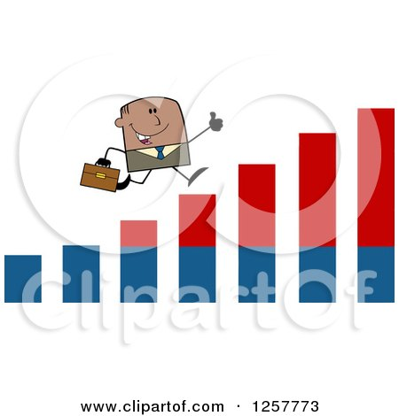 Clipart of a Black Stick Businessman Holding a Thumb up and Running on an Growth Bar Graph - Royalty Free Vector Illustration by Hit Toon
