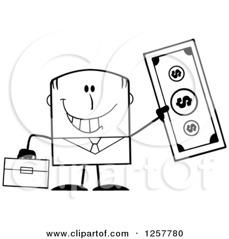Clipart of a Black and White Happy Businessman Holding up a Giant Dollar Bill - Royalty Free Vector Illustration by Hit Toon