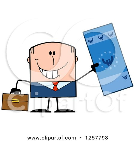 Clipart of a Happy White Businessman Holding up a Giant Duro Bill - Royalty Free Vector Illustration by Hit Toon