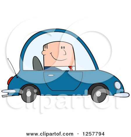 Clipart of a Happy White Business Man Commuting to Work in a Blue Car - Royalty Free Vector Illustration by Hit Toon