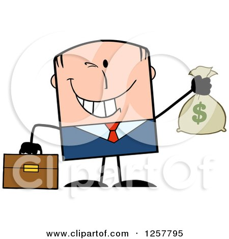 Clipart of a Wealthy White Businessman Winking and Holding a Money Bag - Royalty Free Vector Illustration by Hit Toon