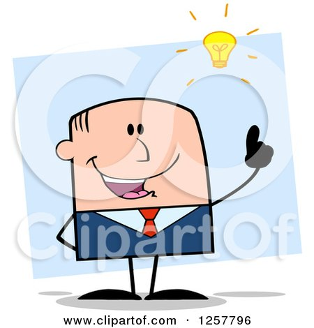 Clipart of a White Stick Businessman with a Bright Idea over Blue - Royalty Free Vector Illustration by Hit Toon