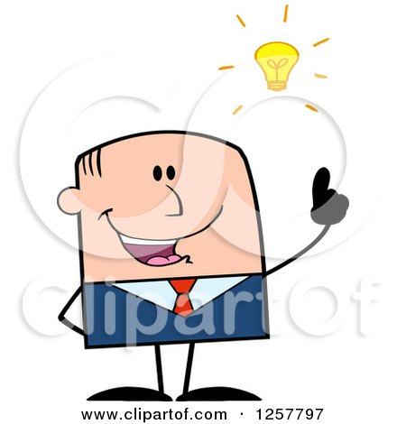 Clipart of a White Stick Businessman with a Bright Idea - Royalty Free Vector Illustration by Hit Toon