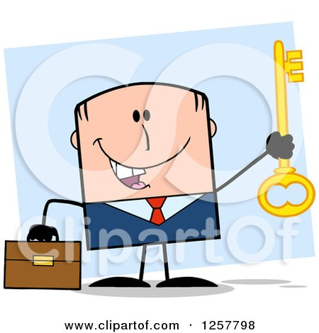Clipart of a Happy White Businessman Holding up a Key to Success over Blue - Royalty Free Vector Illustration by Hit Toon