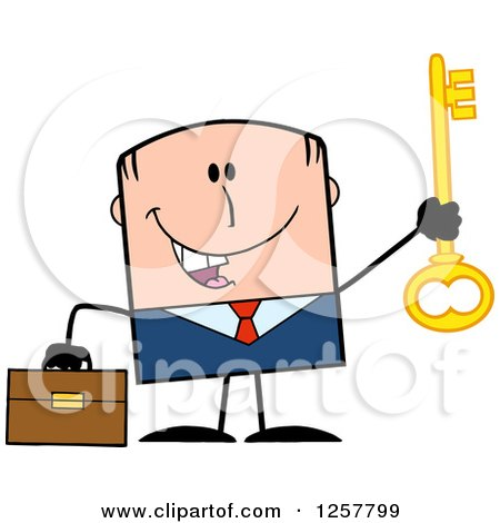 Clipart of a Happy White Businessman Holding up a Key to Success - Royalty Free Vector Illustration by Hit Toon
