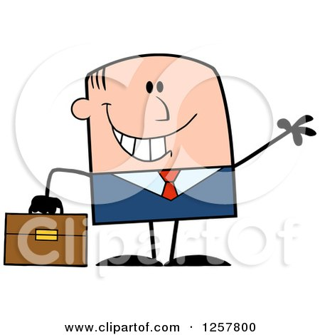 Clipart of a Happy White Businessman Waving and Holding a Briefcase - Royalty Free Vector Illustration by Hit Toon