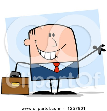 Clipart of a Happy White Businessman Waving and Holding a Briefcase over Blue - Royalty Free Vector Illustration by Hit Toon