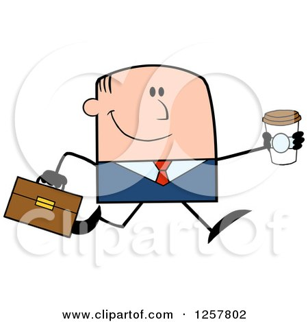 Clipart of a Happy White Businessman Running with a to Go Coffee - Royalty Free Vector Illustration by Hit Toon