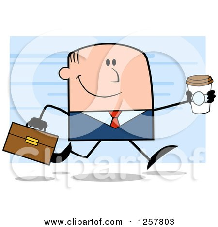 Clipart of a Happy White Businessman Running with a to Go Coffee over Blue - Royalty Free Vector Illustration by Hit Toon