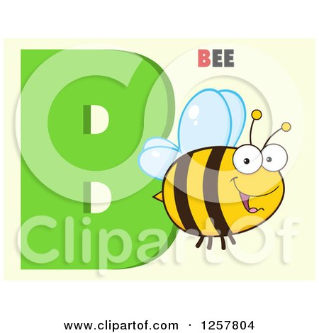 Clipart of a Happy Bee Flying over Letter B and Text on Green - Royalty Free Vector Illustration by Hit Toon