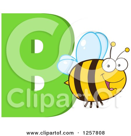 Clipart of a Happy Bee Flying over Letter B - Royalty Free Vector Illustration by Hit Toon