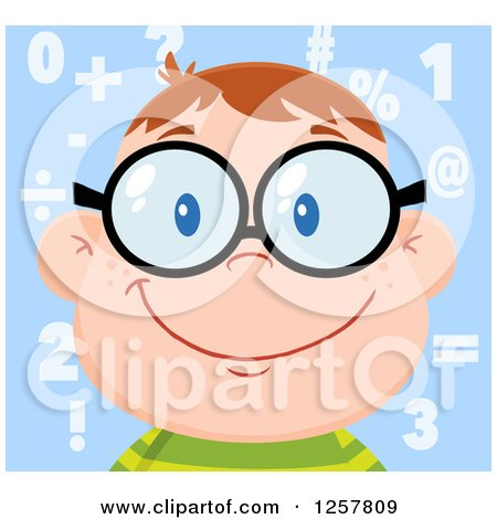Clipart of a Happy White School Boy Wearing Glasses over Math Symbols - Royalty Free Vector Illustration by Hit Toon