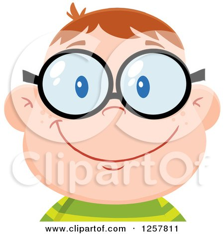 Clipart of a Happy White School Boy Geek Wearing Glasses - Royalty ...