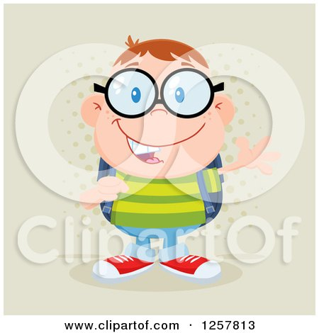 Clipart of a Happy White School Boy Geek Wearing Glasses and Waving over Halftone - Royalty Free Vector Illustration by Hit Toon