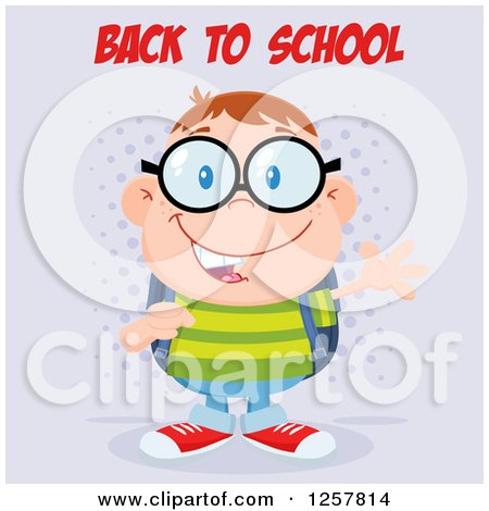 Clipart of a Happy White School Boy Geek Wearing Glasses and Waving Under Back to School Text - Royalty Free Vector Illustration by Hit Toon