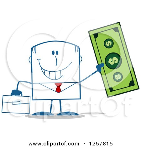 Clipart of a Happy Businessman Holding up a Giant Dollar Bill - Royalty Free Vector Illustration by Hit Toon