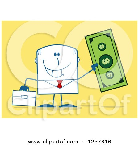 Clipart of a Happy Businessman Holding up a Giant Dollar Bill over Yellow - Royalty Free Vector Illustration by Hit Toon