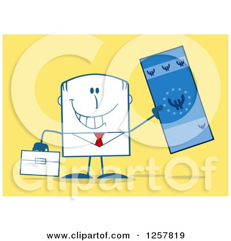 Clipart of a Happy Businessman Holding up a Giant Duro Bill over Yellow - Royalty Free Vector Illustration by Hit Toon