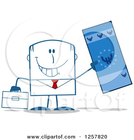 Clipart of a Happy Businessman Holding up a Giant Duro Bill - Royalty Free Vector Illustration by Hit Toon
