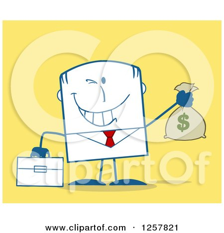 Clipart of a Wealthy Businessman Winking and Holding a Money Bag over Yellow - Royalty Free Vector Illustration by Hit Toon