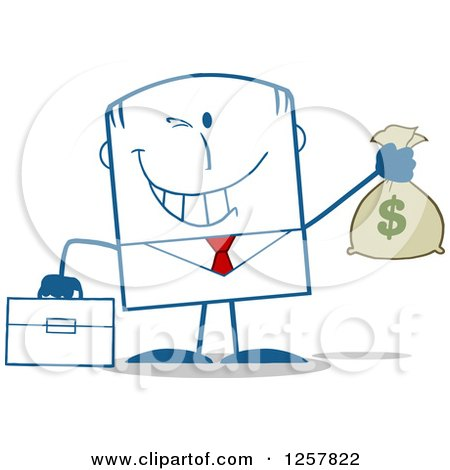 Clipart of a Wealthy Businessman Winking and Holding a Money Bag - Royalty Free Vector Illustration by Hit Toon