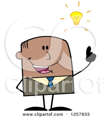 Clipart of a Black Stick Businessman with a Bright Idea - Royalty Free Vector Illustration by Hit Toon