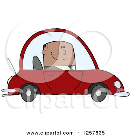 Clipart of a Happy Black Business Man Commuting to Work in a Red Car - Royalty Free Vector Illustration by Hit Toon