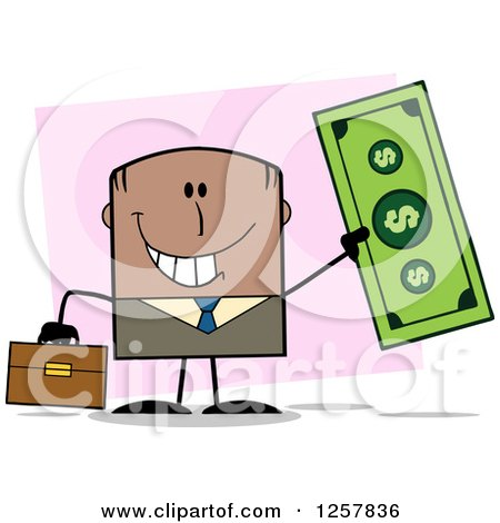 Clipart of a Happy Black Businessman Holding up a Giant Dollar Bill over Pink - Royalty Free Vector Illustration by Hit Toon