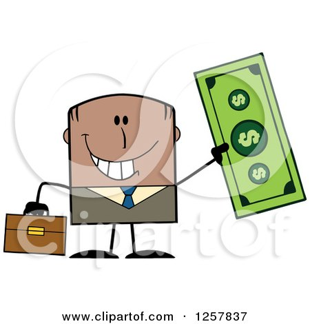 Clipart of a Happy Black Businessman Holding up a Giant Dollar Bill - Royalty Free Vector Illustration by Hit Toon