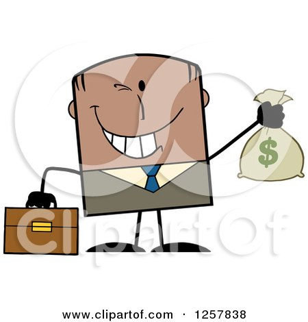 Clipart of a Wealthy Black Businessman Winking and Holding a Money Bag - Royalty Free Vector Illustration by Hit Toon