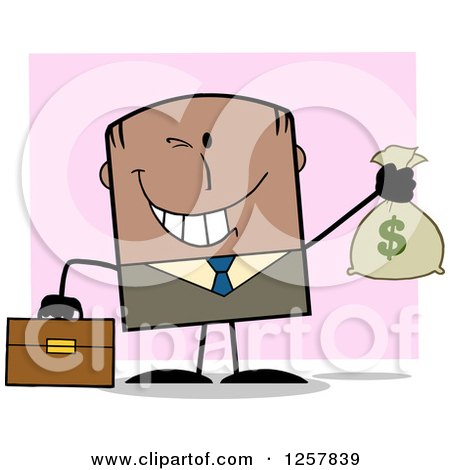 Clipart of a Wealthy Black Businessman Winking and Holding a Money Bag over Pink - Royalty Free Vector Illustration by Hit Toon