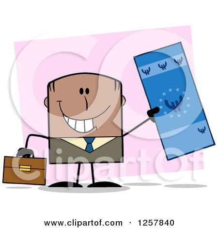 Clipart of a Happy Black Businessman Holding up a Giant Duro Bill over Pink - Royalty Free Vector Illustration by Hit Toon