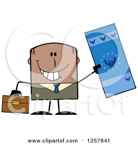 Clipart of a Happy Black Businessman Holding up a Giant Duro Bill - Royalty Free Vector Illustration by Hit Toon
