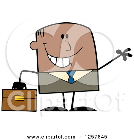 Clipart of a Happy Black Businessman Waving and Holding a Briefcase - Royalty Free Vector Illustration by Hit Toon