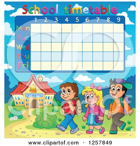 Clipart of a School Timetable with Walking Children - Royalty Free Vector Illustration by visekart